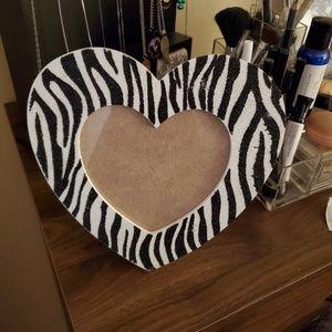 Zebra print heart photo frame